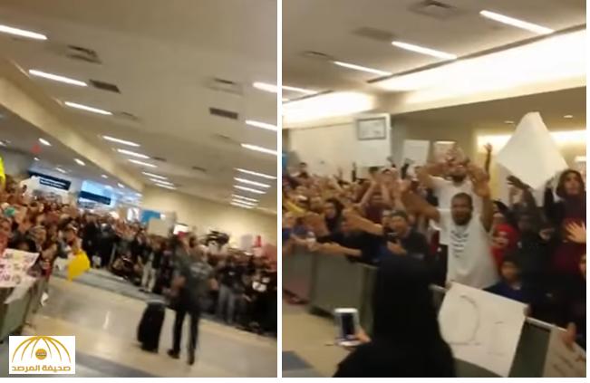 """بماذا علق """"مبتعث سعودي"""" بعد الاستقبال الحافل لزوجته المحجبة بمطار دالاس بأمريكا ؟! – فيديو"""