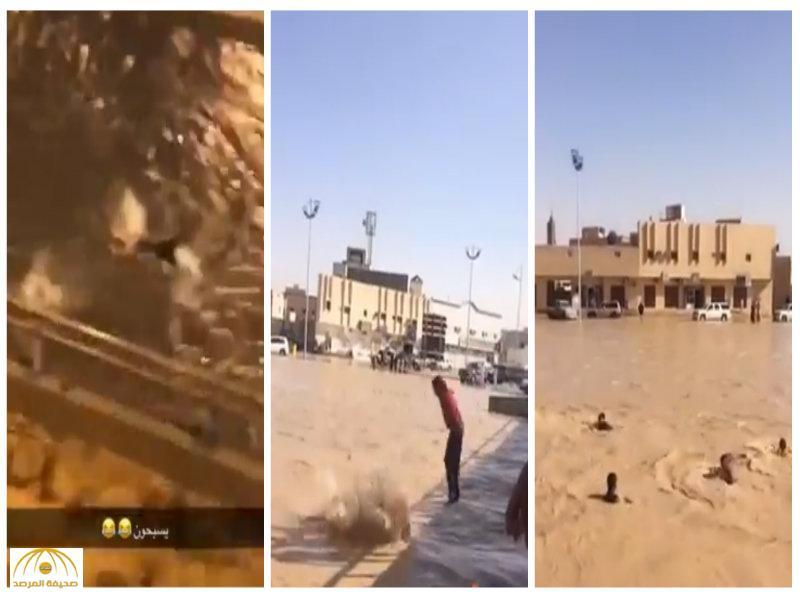 يقفزون من على أحد الجسور.. بالفيديو: لقطات لشباب يسبحون في مياه الأمطار بالخرج والشرقية