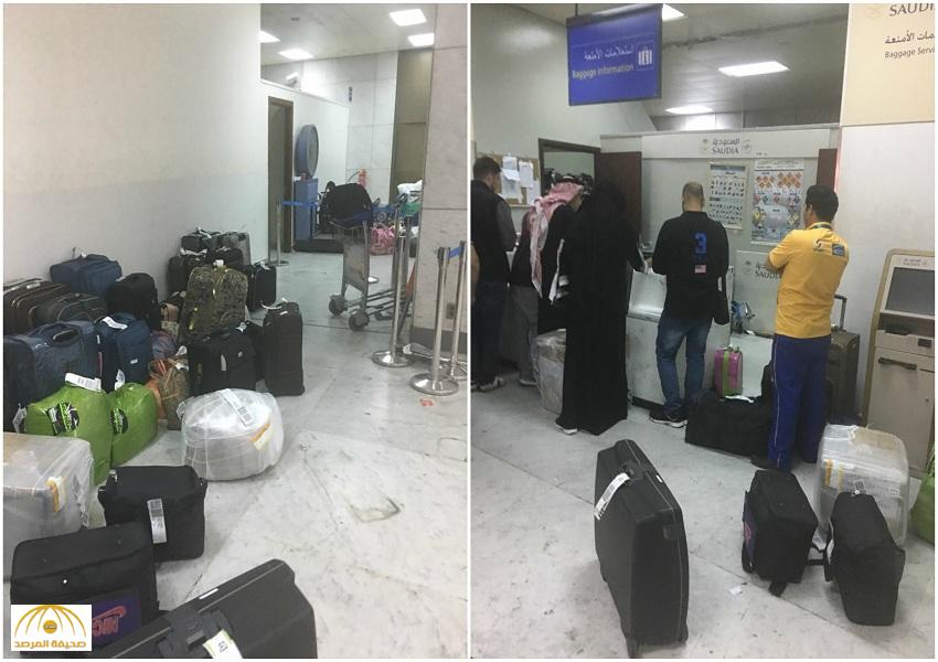 """بالصور.. فوضى بمطار """"جدة"""" وفقدان لحقائب الركاب برحلة قادمة من دبي.. تفاصيل خاصة بـ """"المرصد"""" !"""