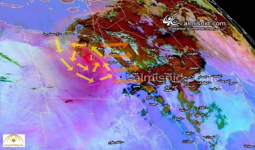 """""""المسند"""" يكشف عن سرعة عاصفة مدار.. وهذه المنطقة بالمملكة ستتأثر أولاً"""