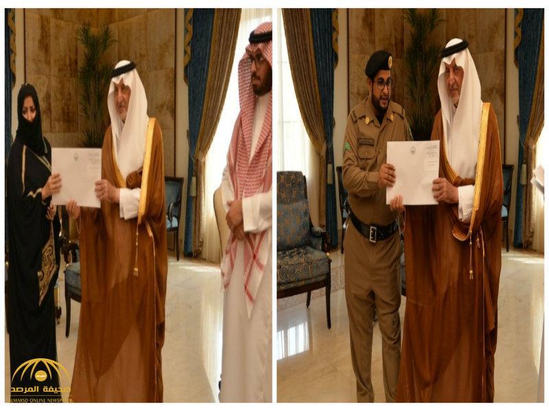 """بالصور: أمير مكة يكرّم مصورة مقطع """"اعتداء الكورنيش"""" ورجل الأمن المعتدى عليه"""