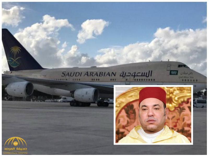 بالصور:ملك المغرب يصل أمريكا على متن طائرة سعودية