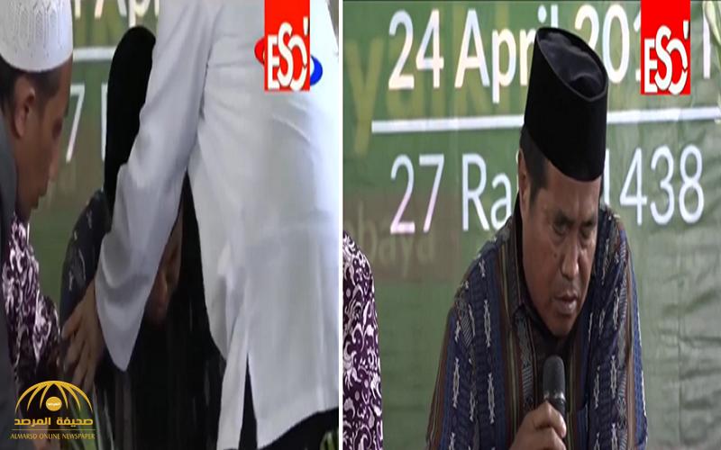 """شاهد:لحظة وفاة أشهر قارئ قرآن بإندونيسيا وهو يتلو سورة """"الملك"""" على الهواء"""