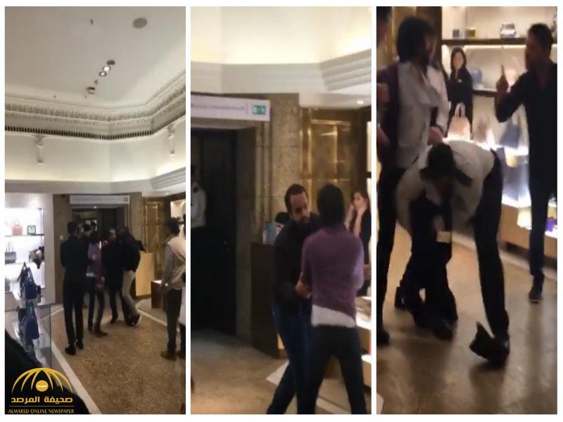 بالفيديو:مضاربة عنيفة بين خليجيين في مركز تجاري بلندن..والشرطة تلتف حول أحدهم وتسحبه!