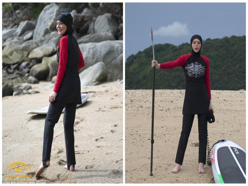"""بالصور: الفنانة  ليندسي لوهان تركب الأمواج فى تايلاند مرتدية """"البوركيني"""""""