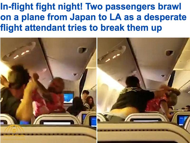 بالفيديو:مضاربة بين راكبين داخل طائرة متجهة إلى لوس أنجلوس يثير الذعر بين ركابها
