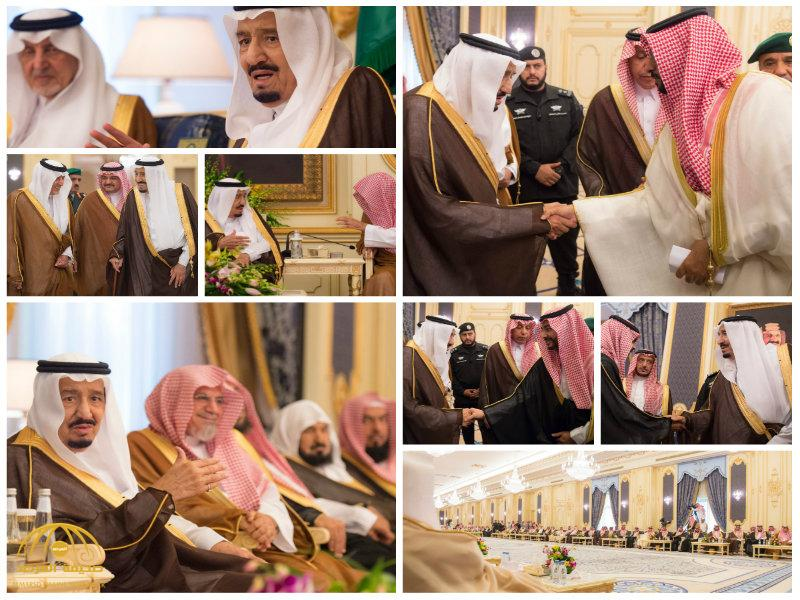 بالصور:خادم الحرمين يستقبل الأمراء والعلماء وجموعاً من المواطنين