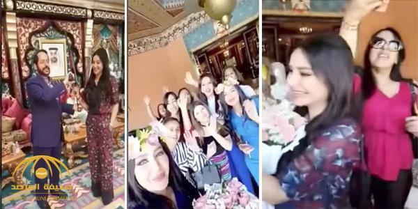 """بالفيديو: """"مانع سعيد العتيبة"""" يستقبل """"لجين عمران"""" بالورود و الطبول في قصره بالمغرب"""