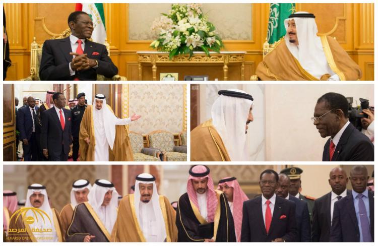 بالصور : خادم الحرمين يستقبل رئيس جمهورية غينيا الإستوائية و يعقدان جلسة مباحثات رسمية