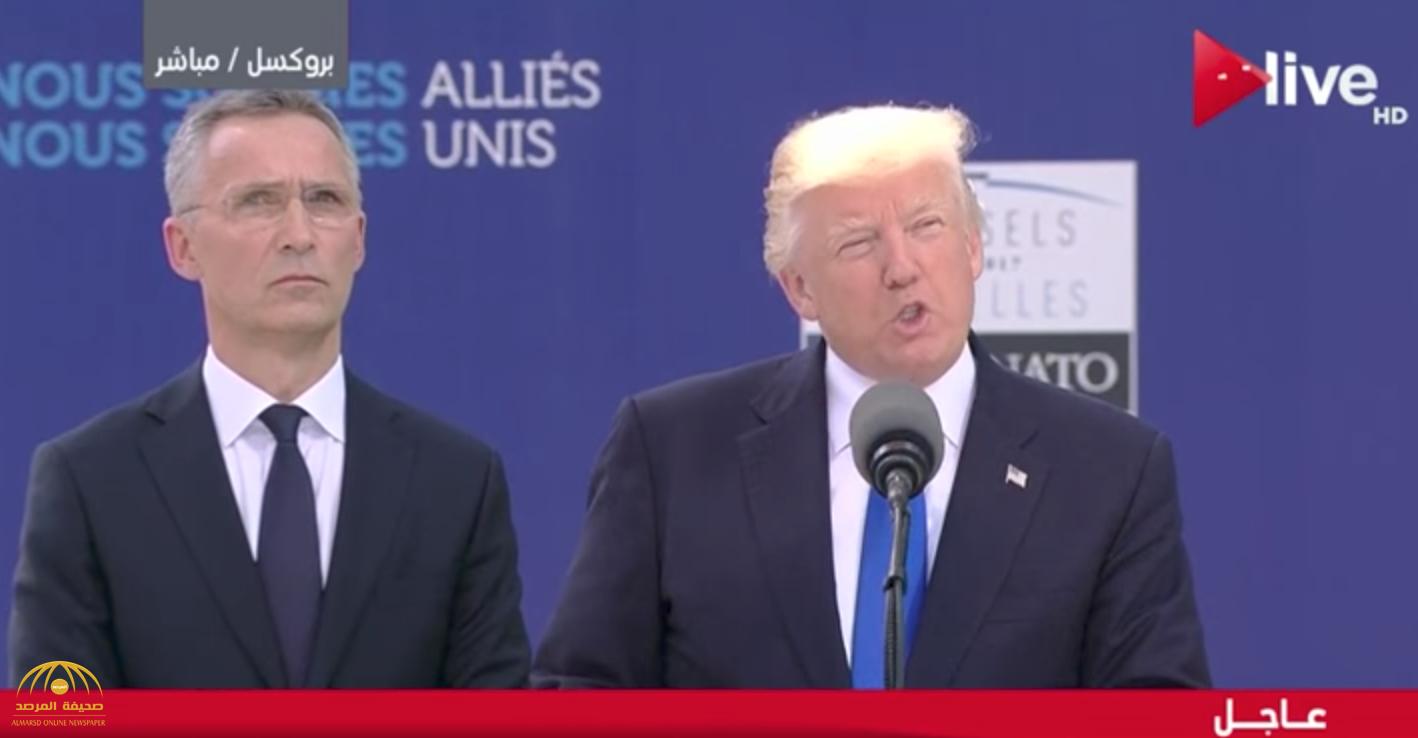 """شاهد .. ماذا قال الرئيس الأمريكي """" ترامب"""" عن الملك سلمان أمام قادة حلف الناتو"""