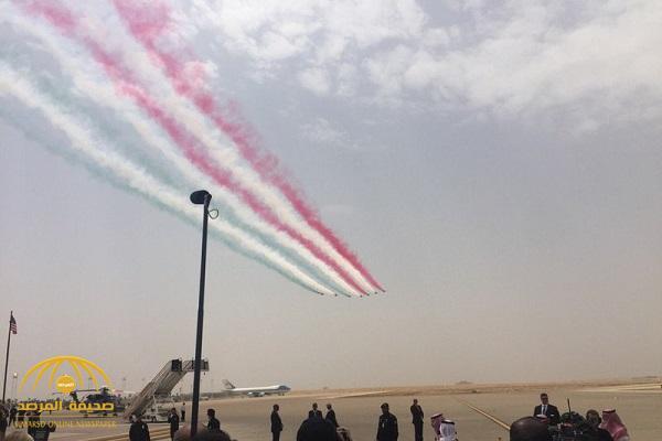 شاهد كيف استقبل فريق الصقور السعودية طائرة ترامب لحظة وصولها – فيديو
