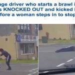 """بالفيديو : شاهد .. """"لكمة عنيفة"""" من سائق بريطاني تسقط آخر أرضاً … وسيدة """"مسلمة"""" تنقذ الموقف"""