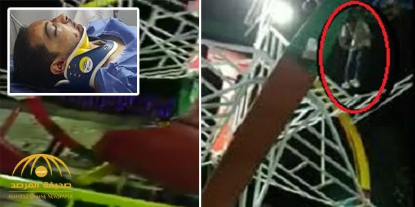 شاهد .. فيديو مرعب لحظة سقوط شاب مصري من لعبة ملاهي .. وهذا ما حدث له !