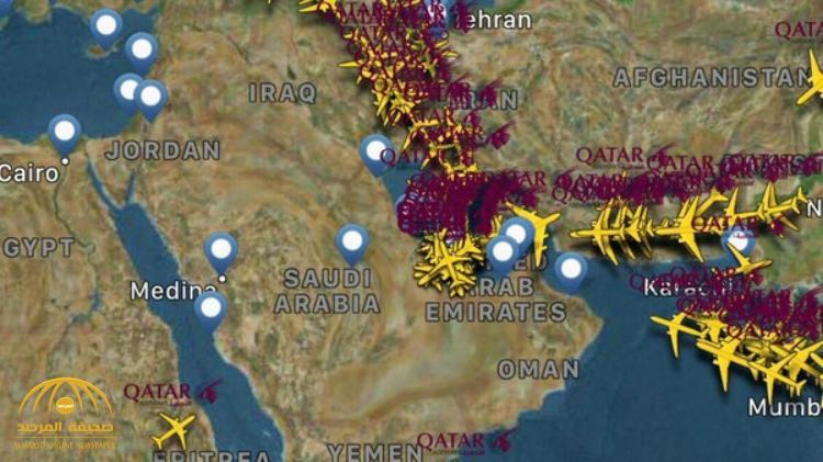 شاهد خرائط توضح المسار الجديد للطائرات القطرية بعد الحظر الجوي