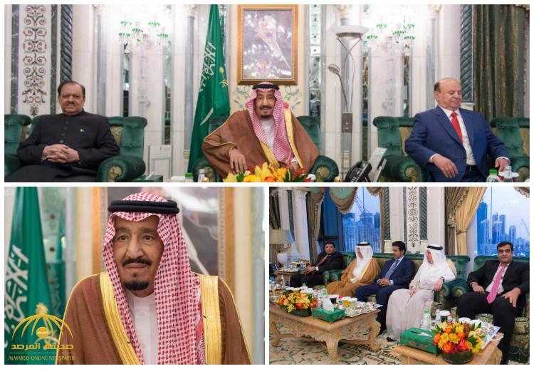 بالصور : خادم الحرمين الشريفين يستقبل رئيسي باكستان واليمن ورئيس مجلس الأمة بالكويت