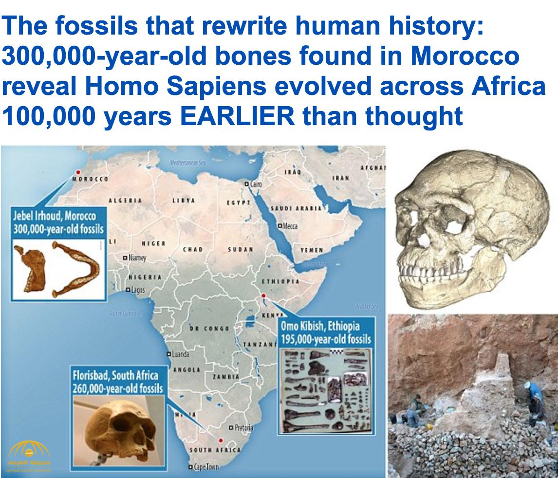 اكتشاف أقدم بقايا للإنسان في التاريخ عاش قبل 300 ألف عام  .. وهذه الأطعمة كان يتغذى عليها