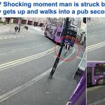شاهد حافلة مسرعة تصدم رجل بأحد شوارع بريطانيا ويقوم بعدها بدقائق ليكمل مشواره!