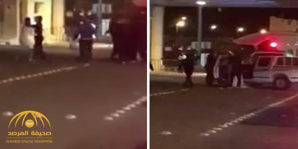 شاهد: سعودي وكويتي يعتديان على رجال الأمن في منفذ النويصيب الحدودي