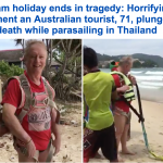 """لحظات مرعبة.. شاهد: مصرع سائح استرالي بـ """"البراشوت"""" أمام زوجته بتايلاند"""