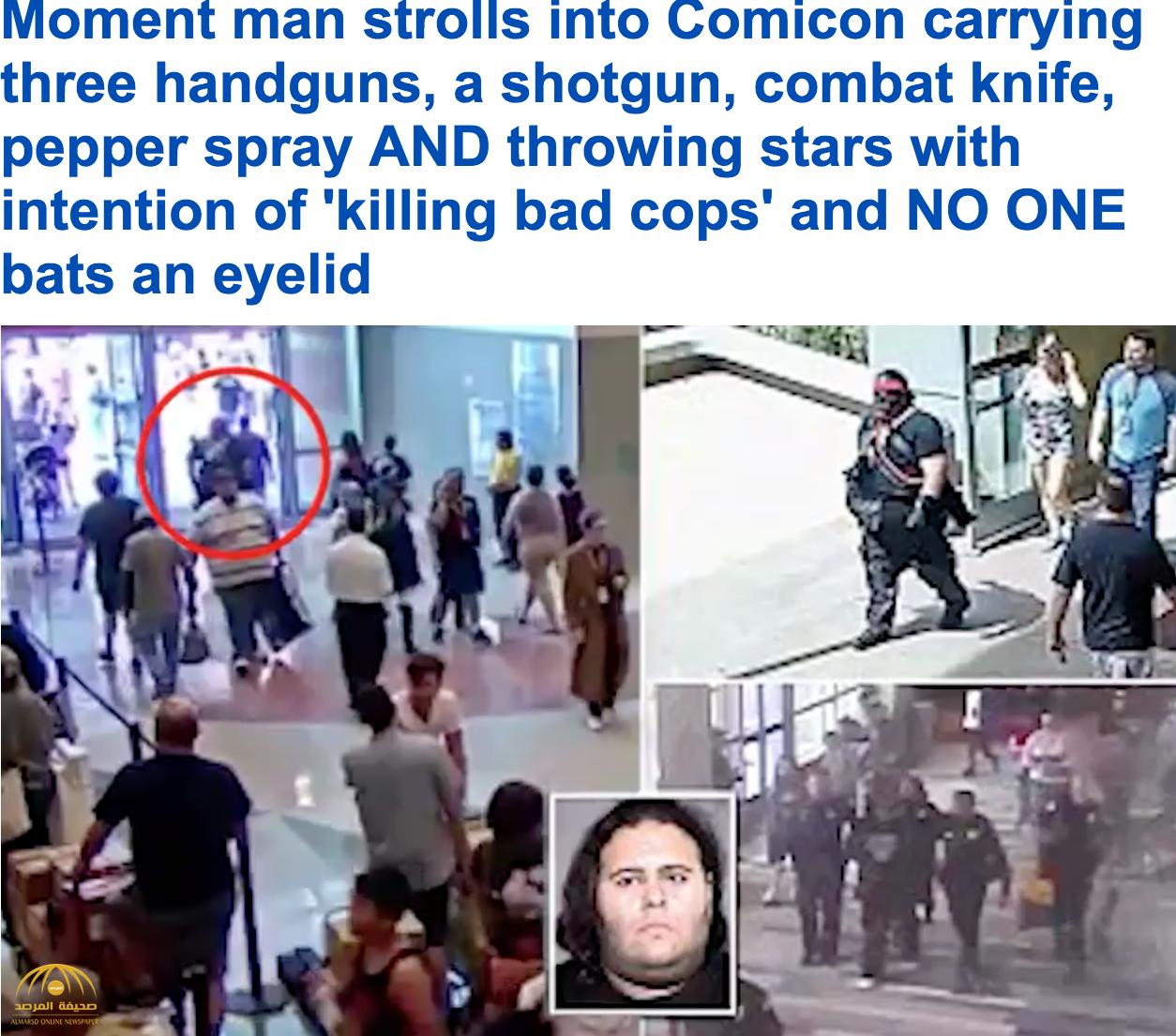بالفيديو و الصور: رجل مدجج بالأسلحة يتجول في مركز مؤتمرات ولاية اريزونا الأمريكية دون أن يشعر به أحد