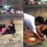 شاهد.. وسط حشدٍ كبير من المارة .. رجل يعتدي على فتاتين في أحد شوارع الكويت!