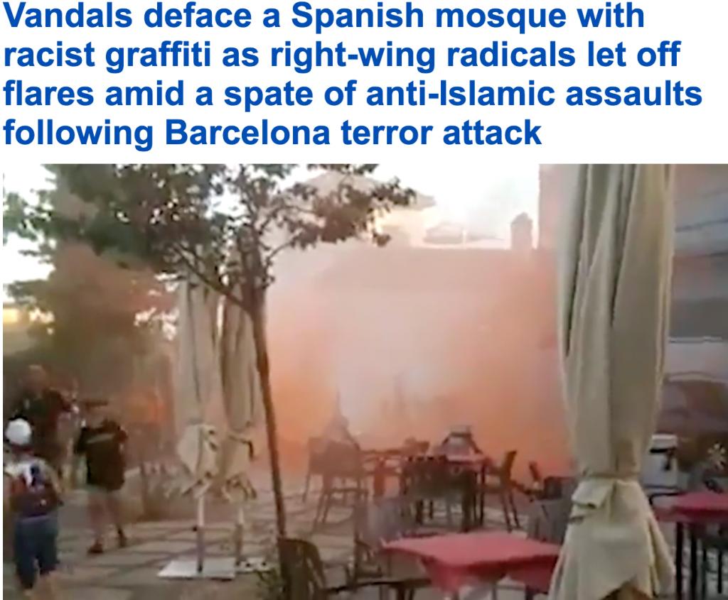 """عقب هجوم """"برشلونة"""" الداعشي..  شاهد: ماذا فعل أسبانيون بمسجد في إشبيلية!"""
