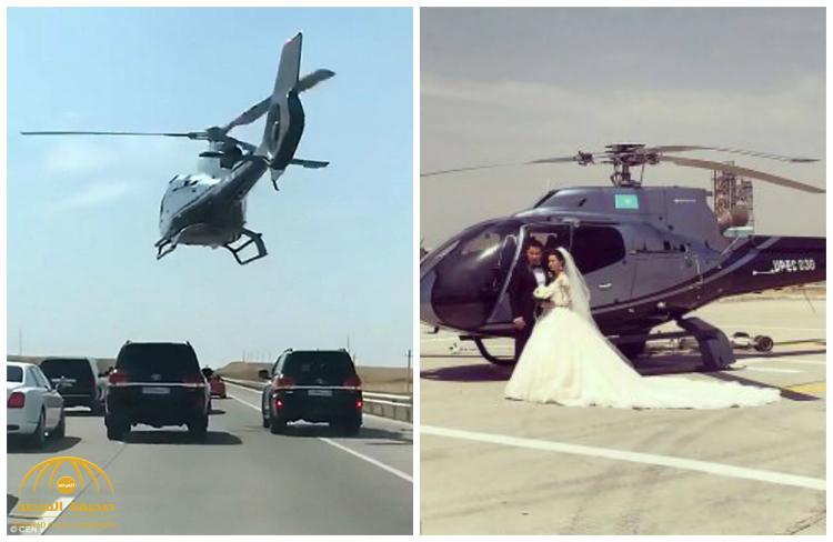 شاهد بالفيديو أغرب زفة عروسين بمروحية على بعد أقدام فوق السيارات بكازاخستان
