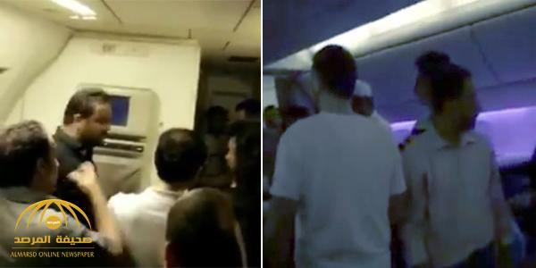 شاهد غضب مسافرون داخل طائرة سعودية بدون تكييف لأكثر من 5 ساعات !
