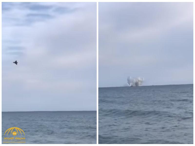 شاهد:فيديو مروع لمصرع طيار إيطالي في البحر