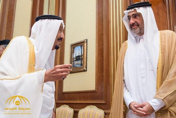 """بالصور.. خادم الحرمين يستقبل """" آل ثاني"""" أحد كبار الأسرة الحاكمة في قطر"""