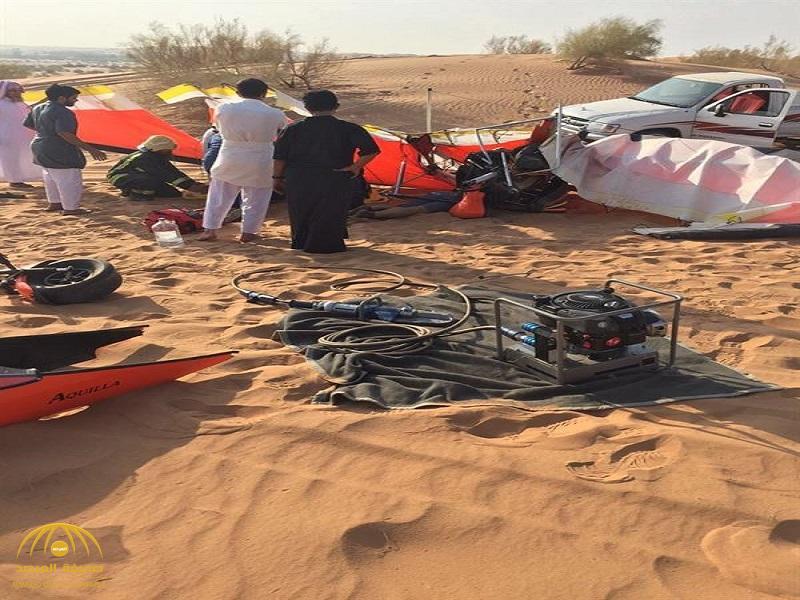 """شاهد بالصور: مصرع شاب وإصابة آخر في سقوط طائرة شراعية بـ """"عنيزة"""""""