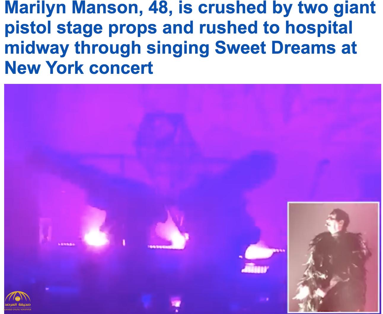 شاهد لحظة إصابة مغني أمريكي بعد سقوط  المسرح عليه في نيويورك