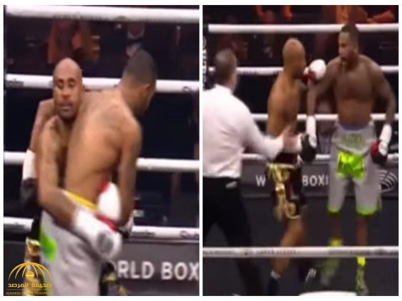 شاهد..ملاكم يغدر بزميله ويسقطه بالضربة القاضية بعد إيقاف النزال!