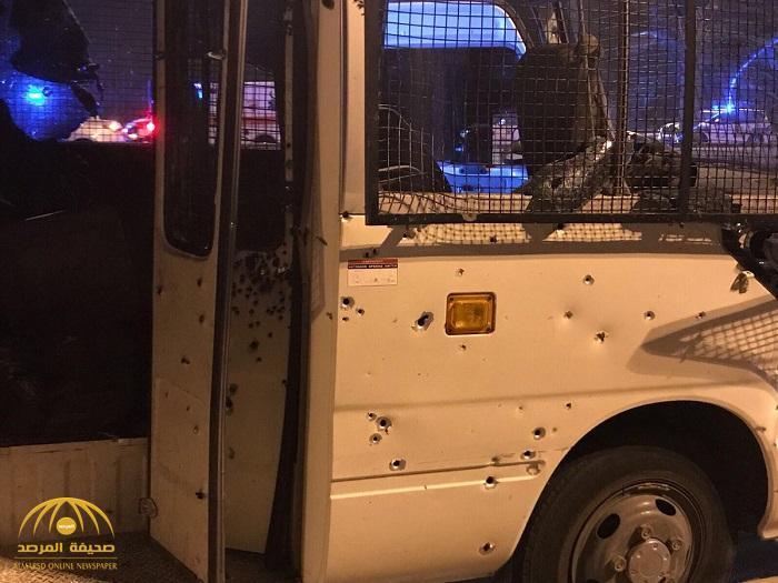 بالصور .. هجوم إرهابي على حافلة للشرطة البحرينية قرب المنامة
