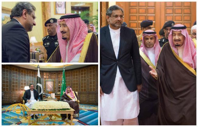 بالصور : خادم الحرمين يستقبل رئيس وزراء جمهورية باكستان الإسلامية