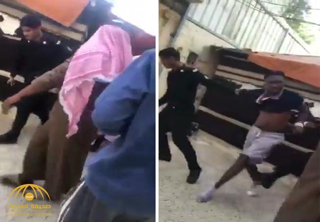"""شاهد .. لحظة القبض على """"أبو ساطور"""" بعد محاولته خطف طفل بالرياض"""