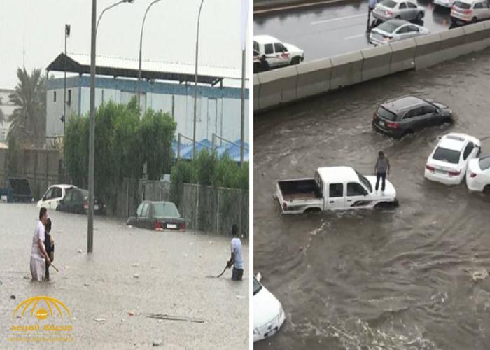 شاهد شخص يصعد على سقف سيارته بسبب أمطار جدة.. وإغلاق عدة طرق وأنفاق بالمحافظة!