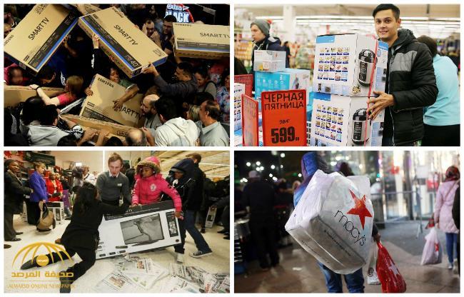 """شاهد : تدافع الحشود على المشتريات في يوم """"الجمعة السوداء"""""""