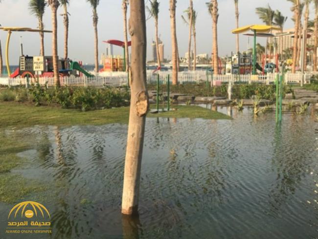"""شاهد بالصور .. كيف تأثر مشروع """"الكورنيش الجديد"""" بهطول أمطار جدة؟"""