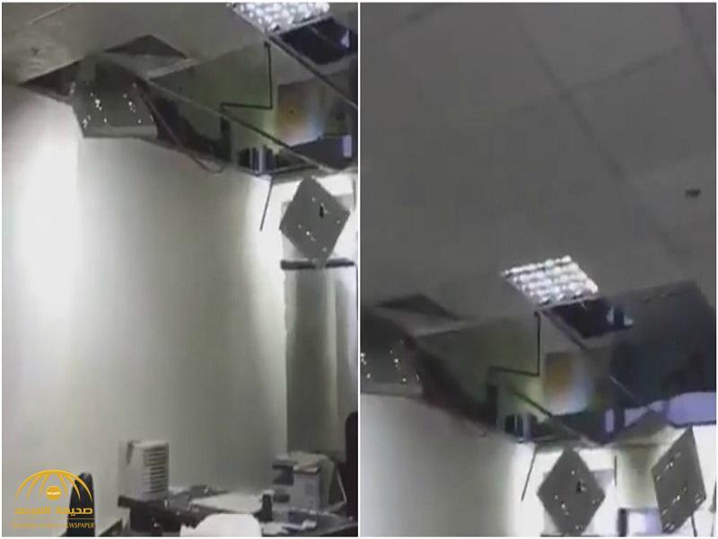 """شاهد : الأمطار تتسبب في انهيار سقف محكمة بجدة """"برأت المتهمين في قضية السيول""""!"""