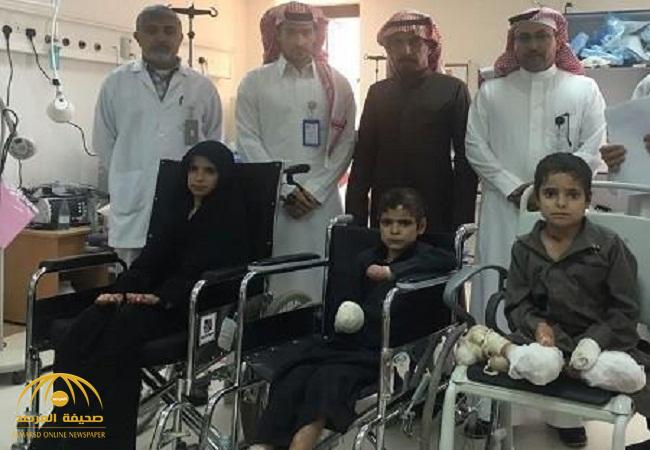 شاهد:كيف أصبح الأشقاء الـ3 مبتوري الأطراف والمشوهين بعدما وصلوا مستشفى رفحاء؟!