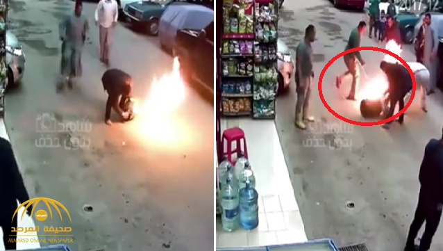 """بالأيدي و""""عكازين"""" .. شاهد : شبان يخمدون حريق """"أسطوانة غاز"""" بطريقة غريبة في مصر !"""