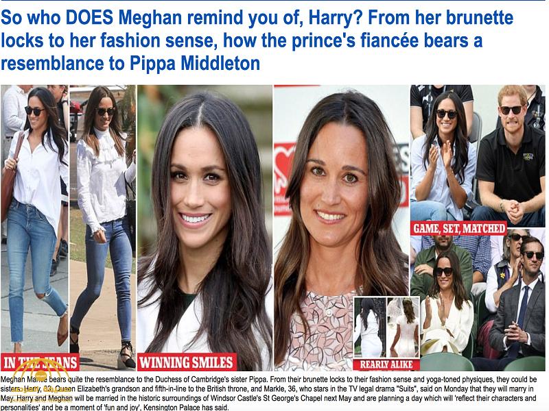 """كأنهما توأم.. لن تصدق التشابه الكبير بين ميغان ماركل خطيبة الأمير هاري.. و""""بيبا"""" شقيقة زوجة الأمير ويليام – شاهد الصور"""