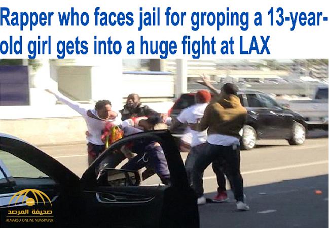"""شاهد.. معركة جماعية مع مغني راب شهير في """"لاكاس"""" بعد تحرشه بفتاة!"""