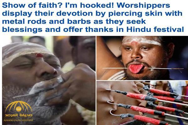 خرق الجلد  .. شاهد : طقوس الهندوس الدينية في مهرجان ثايبوسام السنوي !