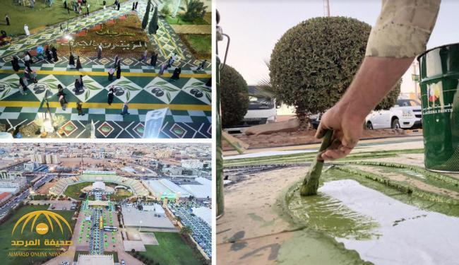 """""""دهانات الجزيرة"""" تحول ممرات """"مهرجان الزيتون"""" بالجوف إلى سجادة ملونة مستوحاة من موروث المنطقة"""