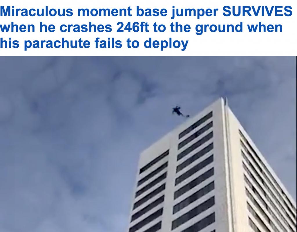 شاهد .. شاب يسقط على الأرض من ارتفاع 24 طابقاً بعد أن تعطلت مظلته