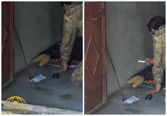 شاهد لحظة انفجار لغم في وجه قيادي بالجيش الحر أثناء محاولة تفكيكه بمدينة عفرين في سوريا