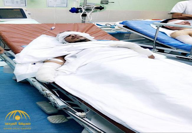 أحدهم إصابته خطيرة.. «معطر جو» ينقل 4 مواطنين بـ «ضمد» للمستشفى-صور