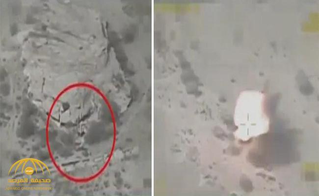 شاهد .. لحظة استهداف طيران التحالف تعزيزات عسكرية ومخازن أسلحة تابعة للحوثيين